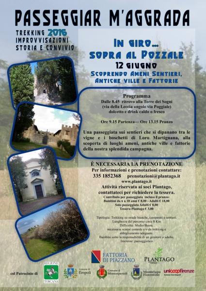 Locandina Passeggiar m'aggrada 12 giugno a giro sopra al Pozzale, Empoli (FI)