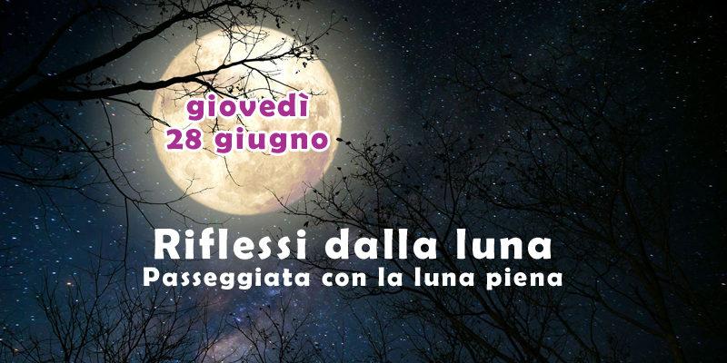 Riflessi dalla luna. Passeggiata con la luna piena